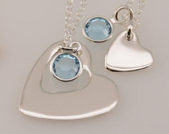Heart cutout mother daughter necklaces with birthstones, Heart cutout necklace, Heart cutout