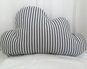 Cloud Cushion,  Large Cloud Cushion - Charcoal Stripes (The Grey Collection)