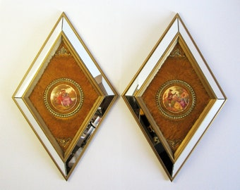 2 Vintage Gold Mirror Frames - Fragonard Cameo Courtship Scenes - Diamond Wall Plaque - Brass Wall Decor - Hollywood Regency - Romantic Art