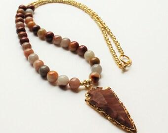 Jasper Arrowhead Pendant Necklace, Reddish Brown and Gold Beads