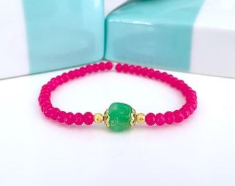 Mala Bracelet, Neon bracelet, Hot Pink bracelet, Heart healing bracelet, Healing bracelet, Stretchy bracelet, beaded bracelet,Yoga gift,MBHP