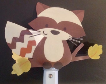 Adorable Forest Friends Raccoon Nursery Night Light