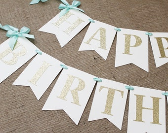 Mint and Gold Birthday Banner   Matching High Chair Banner   Gender Neutral