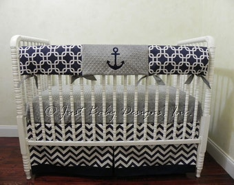 Nautical Crib Bedding Set Nelson - Boy Baby Bedding, Anchor Crib Bedding, Bumperless Crib Bedding, Navy and Gray Crib Bedding