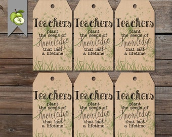 gift tags, teacher plant the seed, plant tag, teacher gift tag, Teacher gift, end of year tag, gift tag, Gift Tag, Thank you. Helping grow