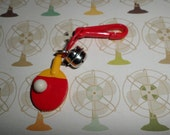 Plastic Bell Charms Vintage 80's Ping Pong Paddle and Ball SPORTY