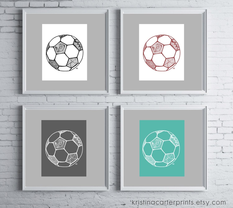 soccer ball wall art girls boys room decor sports themed. Black Bedroom Furniture Sets. Home Design Ideas