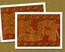 Quetzalcóatl - The Plumed Serpent - Set of 2 Note Cards - Original Design by Linda Henry (SWNC046)