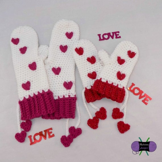 Puffy Heart Mittens PDF crochet pattern ONLY Hearts Love