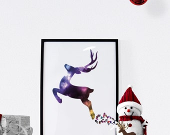 "Bokeh Reindeer - 8 x 10"" Digital Art Print - Christmas Decor - Instant Download"