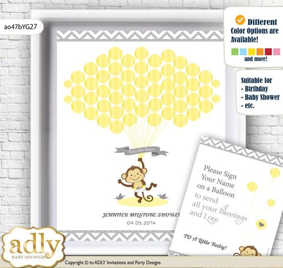Boy Girl Monkey Guest Book Printable Alternative and Boy Girl Monkey ...