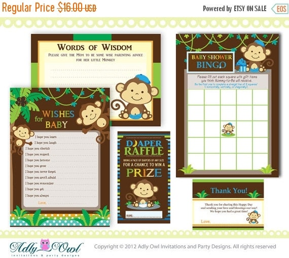 baby shower essentials printable party kit with brown monkey shower