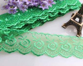 Lace DA25 trim 10yards ribbon floral embroidery