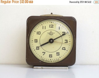 ON SALE Vintage Dark Brown Mechanical Alarm Clock / Made in CCCP