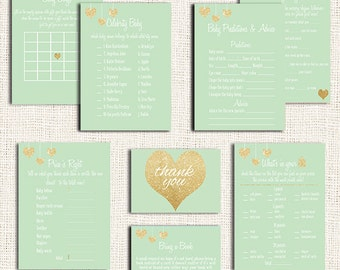 Gender Neutral Baby Shower Games Printable Party Package Choose 5 Items, Mint Baby Shower Games, PDF, Gold, gender neutral baby shower games