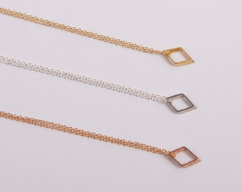 Silver Gold Or Rose Gold Plated Necklace Square Box Silver Necklace Diamond Rhombus Choose your Colour