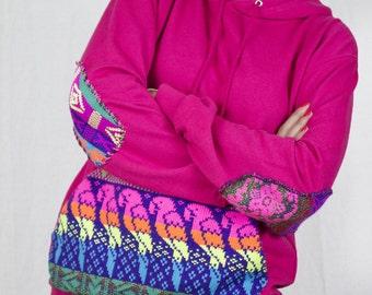 Fair isle Hoodie in Pink by Get Crooked