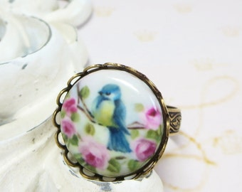 Blue Bird Ring Bluebird Cameo Shabby Chic Pink Roses