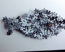 Black and White Jigsaw Puzzle Fish Platter