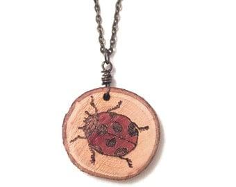 Wood-Burned Ladybug Necklace