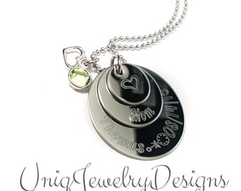 Mother's day jewelry, New mom jewelry, engraved jewelry, personalized jewelry, hand stamped jewelry, new baby