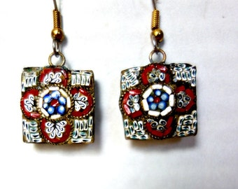 Vintage Micro Mosaic Earrings