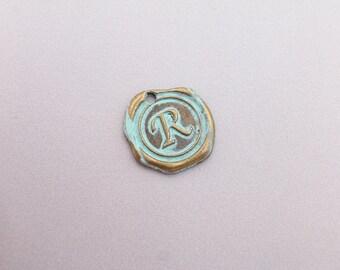 1 Wax Seal Letter Charm, Alphabet Charm, Verdigris charm, patina, any letter