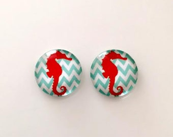 2 round glass cabochons- flatback- seahorse cabochons - 20mm - USA ship