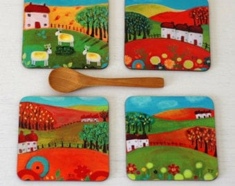 Landscape Coasters Set of 4, Artist Paintings Coasters, Green Coasters, Red Coasters, Naive Art Coasters, Coasters with Cottages