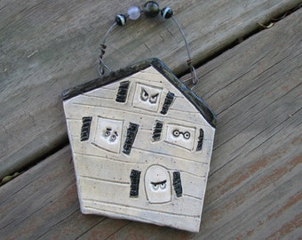 Haunted House Wall Art, Little Haunted House Ceramic Plaque, Halloween Decoration