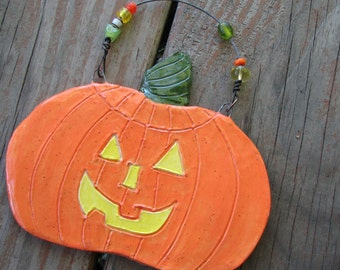 Ceramic Pumpkin Plaque, Ceramic Jack-O-Lantern, Ceramic Wall Hanging, Halloween Decoration