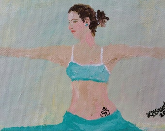 original yoga painting omwoman yoga meditate. Original Yoga Painting, OM,Woman, Yoga, Meditate, Apparel, Painting Omwoman Meditate N