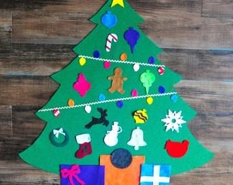 """Felt Christmas Tree, with felt """"lights"""""""