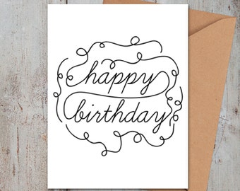 Happy Birthday Swirls Card