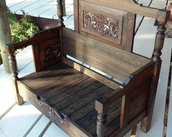 Beautiful Lounge Bench Hand Forged from Antique Headboards and Footboards