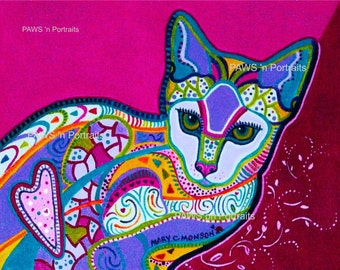 ICE Princess Cat Portrait ~ 8x10 - Signed - Original - FREE Shipping