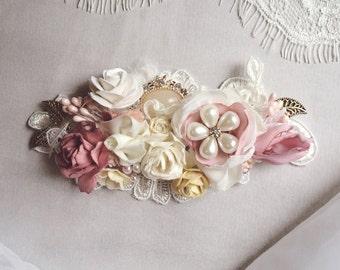 Bridal Hair Comb, Fall Wedding Hair Comb, Champagne Floral Bridal hair comb, Dusty Rose Hair Comb, Bridesmaid Hair Comb, Flower Girl Comb