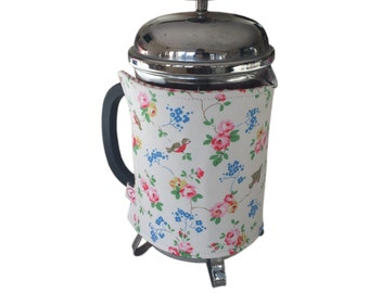 Cafetierre cosy 8 - 10 cups made in stunning Cath Kidston birds fabric - lined in vintage ticking or dotty fabric