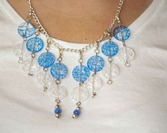 Blue and White Translucent Beaded Necklace