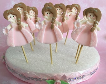 12 Princess Cupcake Sticks,Cake Toppers/ Baby Shower/ Birthday/Diaper Cake Toppers/ Princess Event/Cold Porcelain/Handmade