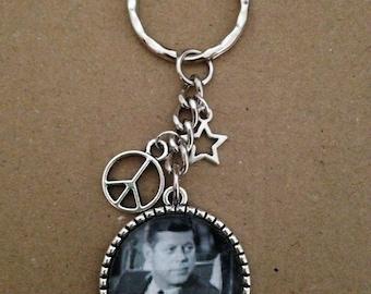 JFK - President John F Kennedy Keyring / Keychain Handmade, Unique.