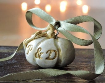 Personalized Gift Wedding Pumpkins - Personalized Ornaments Wedding - Autumn Wedding Engagement Gift - Fall Wedding Gifts