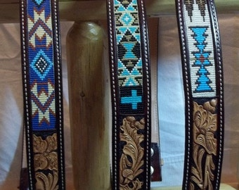 Beaded Inlay belts with two tone flowers