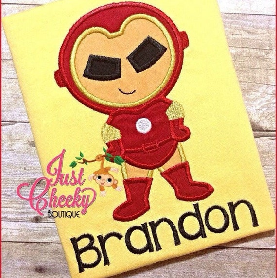 Iron Man Super Hero Cutie Embroidered Shirt