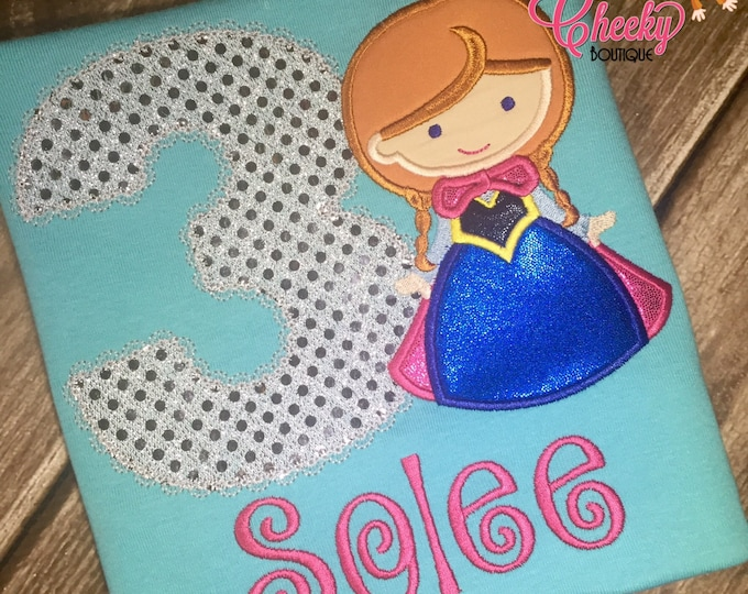 Snow Princess Cutie as Anna from Frozen Birthday Shirt