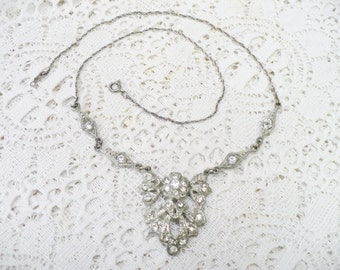 AUTHENTIC Vintage 1920s Art Deco RHINESTONE Necklace - silver tone metal - Gatsby Bridal - Flapper Bridal necklace - Downton Abbey - gift
