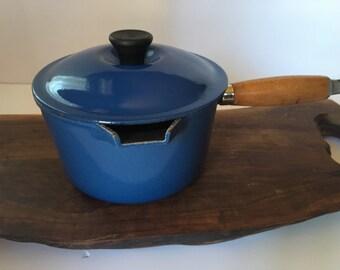 Vintage Blue  #16 Le Cresset France  Sauce  Pan Enamel Cast Iron, Non stick