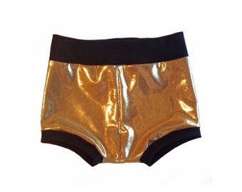 Gold baby shorties, baby shorties, baby girl bummies, toddler shorties, toddler girl shorts, gold shorts, baby summer outfit, baby clothing