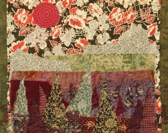 Midnight in the Tree Farm: textile landscape collage