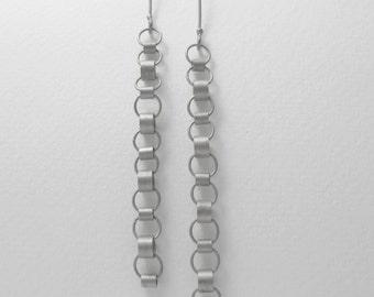 Mitzi Earrings - Long Sterling Silver Dangle Earrings, Modern Chain Earrings, Tiny Circles Earrings, Kinetic Earrings, Mobile Earrings